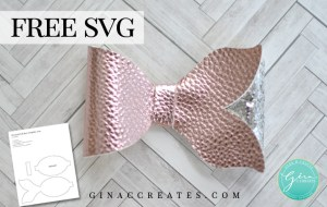 mermaid tail hair bow free svg and template
