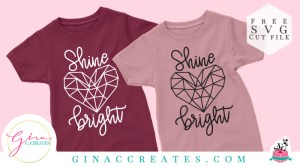 free svg shine bright geometric heart diamond svg cut file