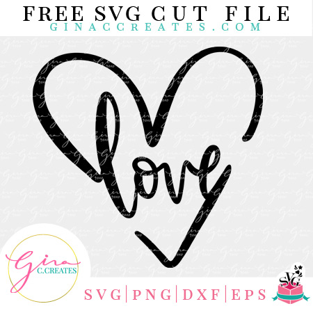 Download Love Heart Free SVG Cut File - Gina C. Creates