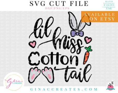 lil miss cotton tail easter shirt svg cut file