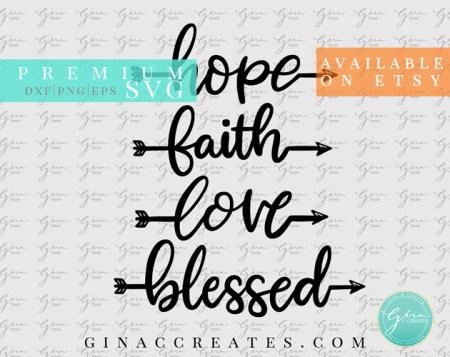 hope faith love blessed word arrow svg bundle