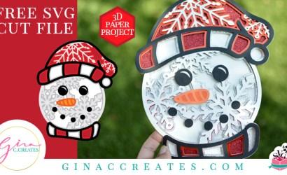 3D Snowman Mandala Free SVG Cut File