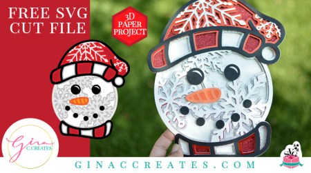free 3D snowman SVG, Christmas Crafts