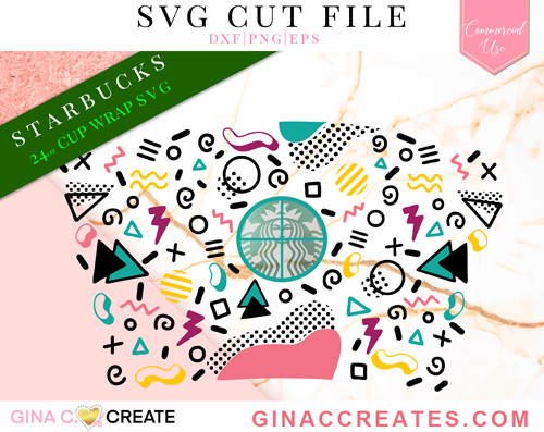 80's pattern SVG cup wrap