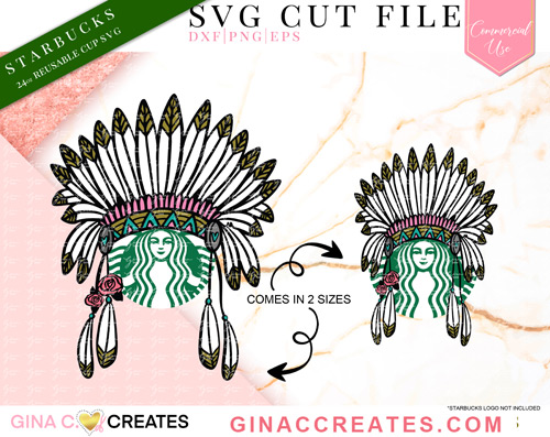 Feather headdress native SVG, starbucks svg