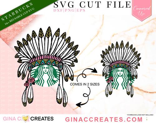 Feather headdress native SVG, starbucks svg