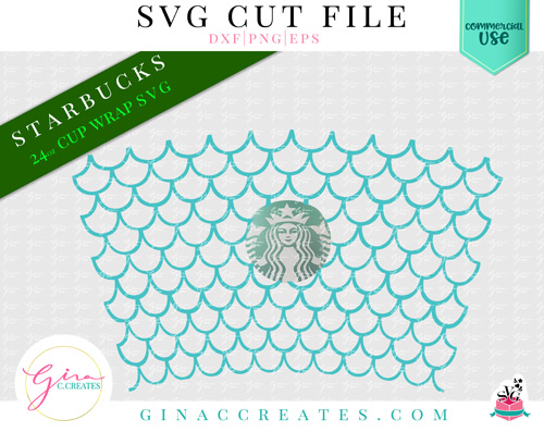 mermaid scales pattern SVG cup wrap
