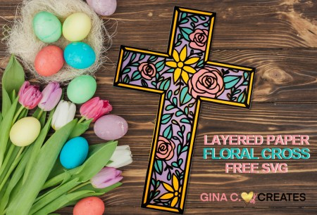free Easter floral layered cross SVG