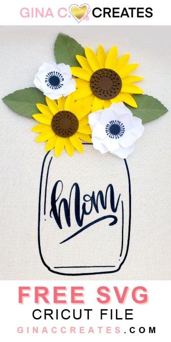 Mother's Day Sunflower mason Jar free svg