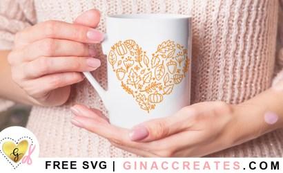 Fall Leaves Heart Free SVG Cut File