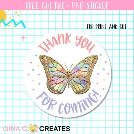 free butterfly thank you label sticker
