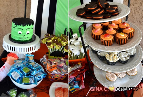halloween cake and cup cakes