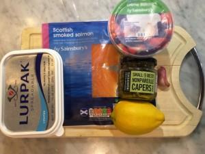 Ingredients for smoked salmon tagliatelle
