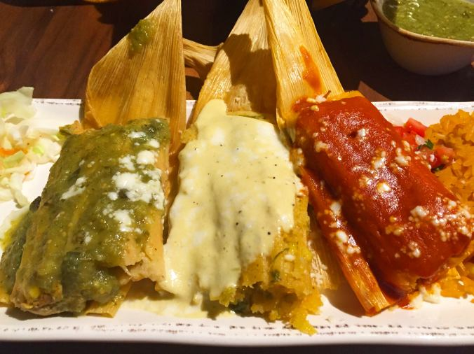 Tamales in green, white and red