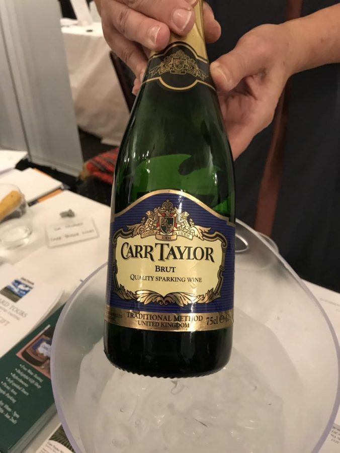 Close up shot of the bottle of Carr Taylor's Brut Sparkling wine