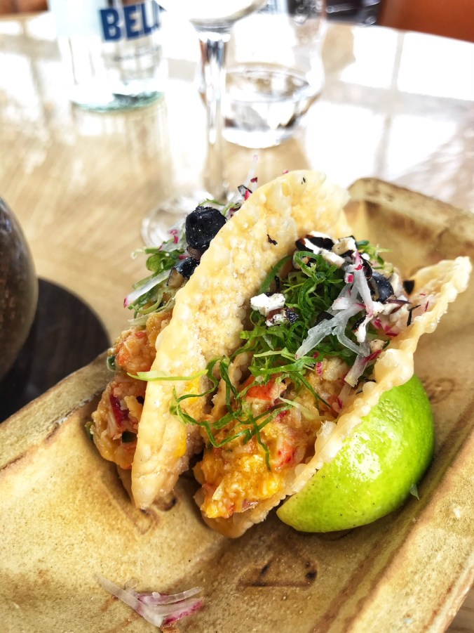The lobster taquitos, zingy, fresh and appetising