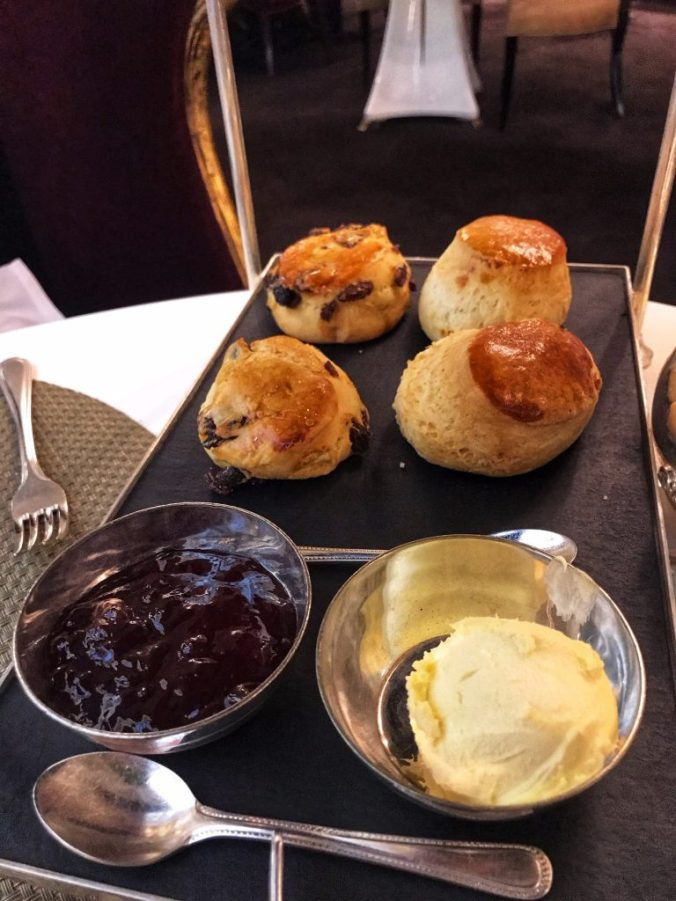 Scones, jam and cream at Harrods Afternoon Tea