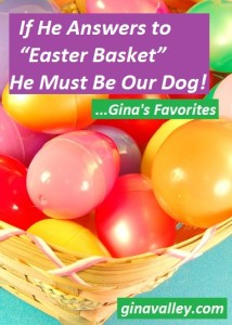 "Humor Funny Humorous Family Life Love Laugh Laughter Parenting Mom Moms Dad Dads Parenting Child Kid Kids Children Son Sons Daughter Daughters Brother Brothers Sister Sisters Grandparent Grandma Grandpa Grandparents Grandfather Grandmother Parenting Gina Valley If He Answers to ""Easter Basket"" He Must Be Our Dog...Gina's Favorites"