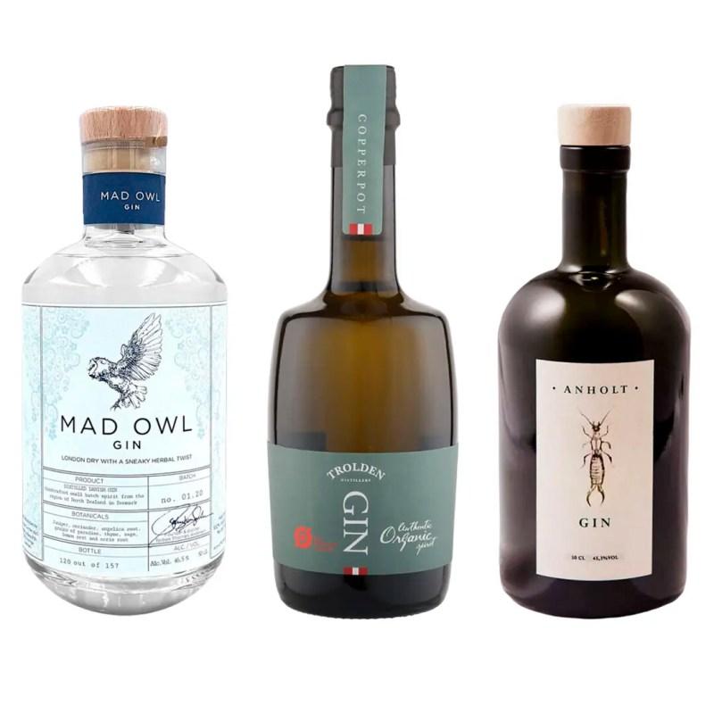 3 flasker gin Mad owl gin, Troldens gin og anholt gin