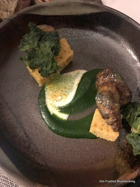 Jerusalem Artichoke Cake, Brazil Nut Milk and Cabbage Spiced Artichoke, Turmeric and Curry Leaf
