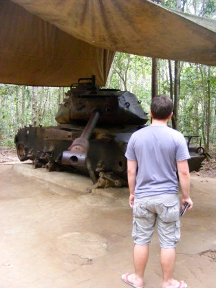 An American Tank destroyed by Viet Cong mines