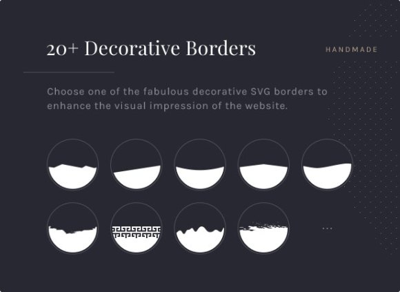 20+ Decorative Borders: Choose one of the fabulous decorative SVG borders to enhance the visual impression of the website.