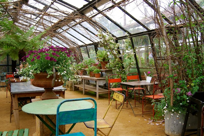 Shabby chic goes country: the seating area in the Petersham Nurseries' Tearooms