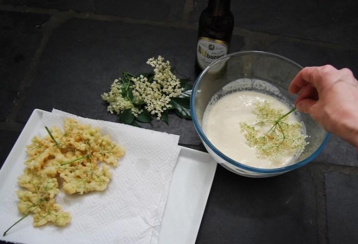 dipping elderflower pancakes