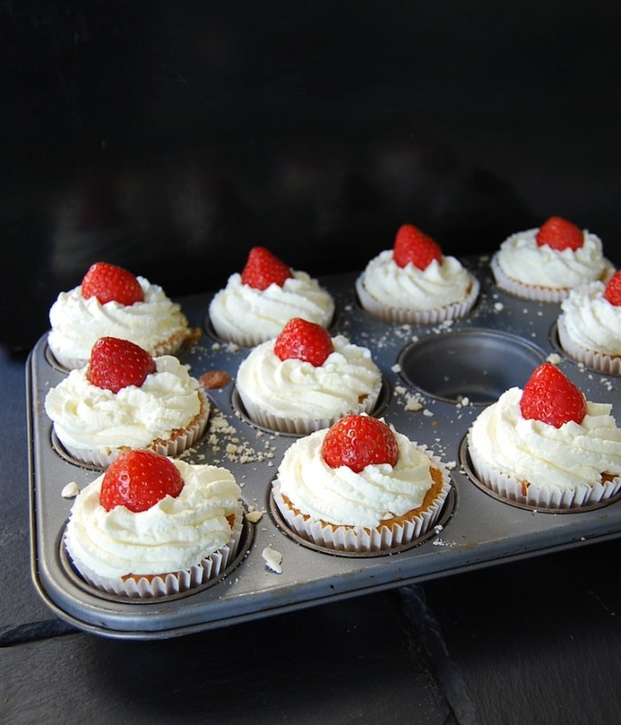 strawberry-filled cupcakes