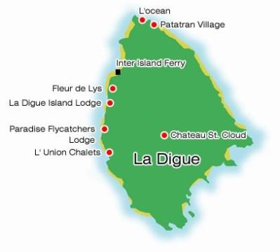 map of La Digue