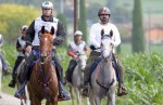 June 12, 2011: Sheikh Mohammed (right) led the UAE riders to the finish line at the first round of Europe's Endurance Race in Verona, Italy. (photo credit)