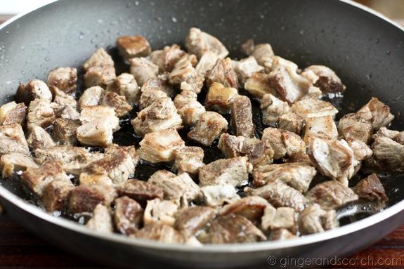 Frying Biryani Lamb