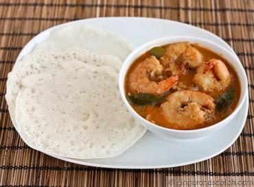 Homemade Appams with Shrimp Curry