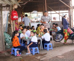 Mekong School Children Having Breakfast Before School
