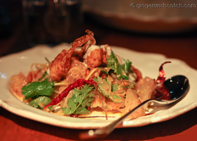 deep-fried soft shell crab with pomelo, chillies, and coriander