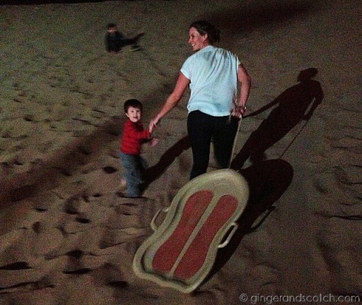Full Moon Drumming - sledding on the sand