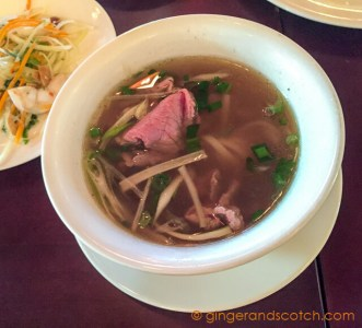 Tradtional Vietnamese soup with beef or chicken, asorted vegetables and chili