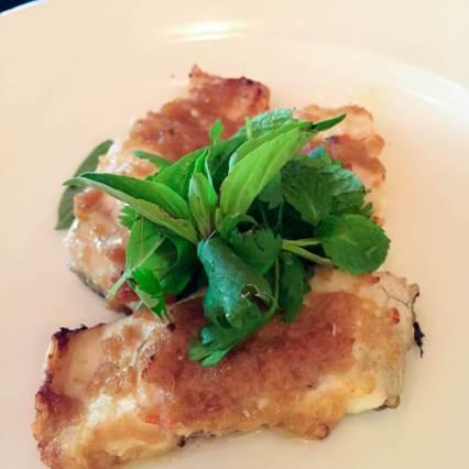 Pan-fried sweet water prawns with green beans, shitake mushrooms and spicy sambal sauce