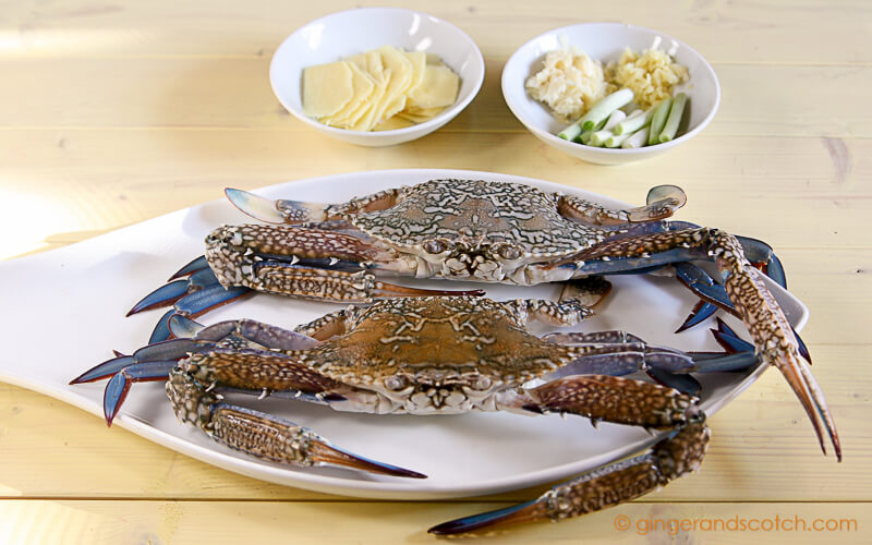 Stir-Fried Blue Crabs with Ginger and Scallion