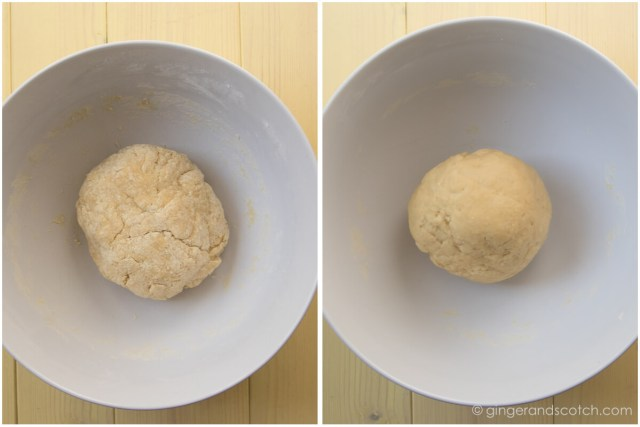 Comparing Chinese egg noodle dough: Dough when it was first mixed (left photo) and dough after 30 minutes of rest and a bit of kneading (right photo)