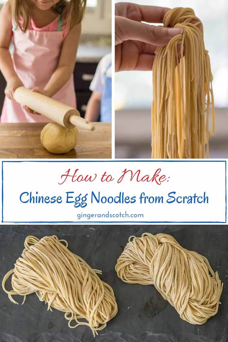 Chinese egg noodles are perfect for wonton soups (any soups!) and stir-fries.  Learn how to make homemade egg noodles with my easy to follow directions. 