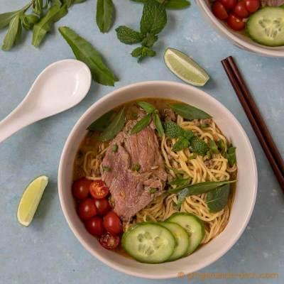 Vietnamese Beef Sate with Egg Noodles (Mì Bò Sa Tế)