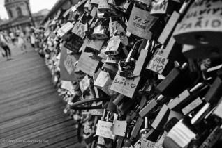 Love-lock bridge in Paris