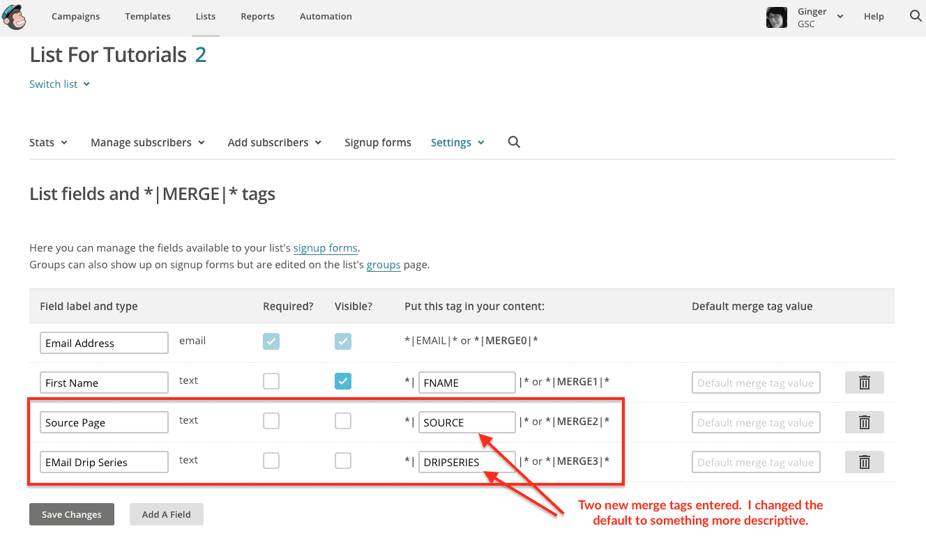 Use MailChimp Merge Tags with Genesis eNews Extended | Ginger Coolidge
