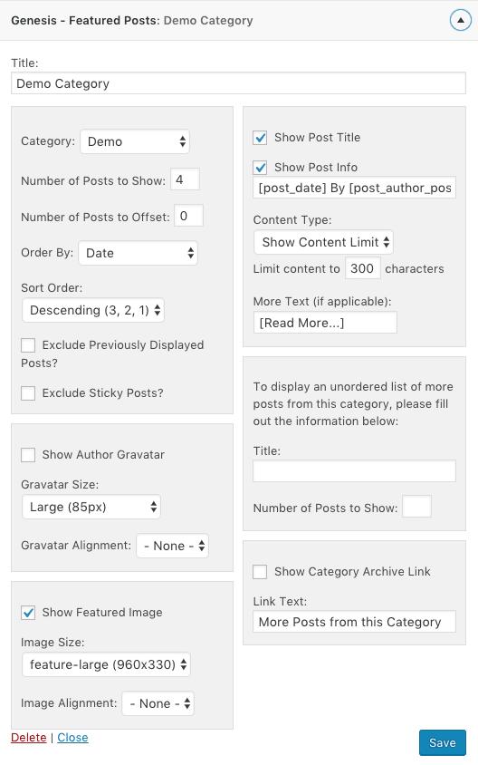 genesis featured posts widget settings