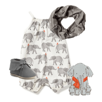 "Gender neutral/baby boy outfit based on the children's book ""Strictly No Elephants"""