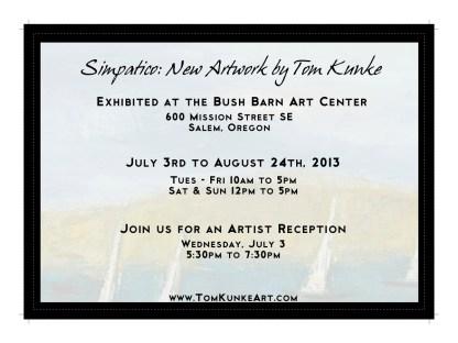 Tom Kunke Art; Flat invitation: Back