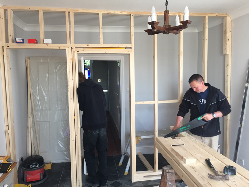 breakfast room wall construction