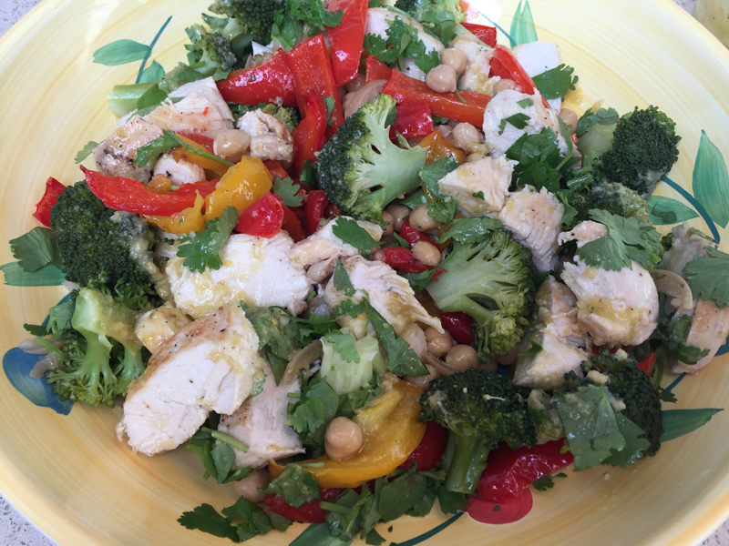 cook simple chicken pepper chickpea salad