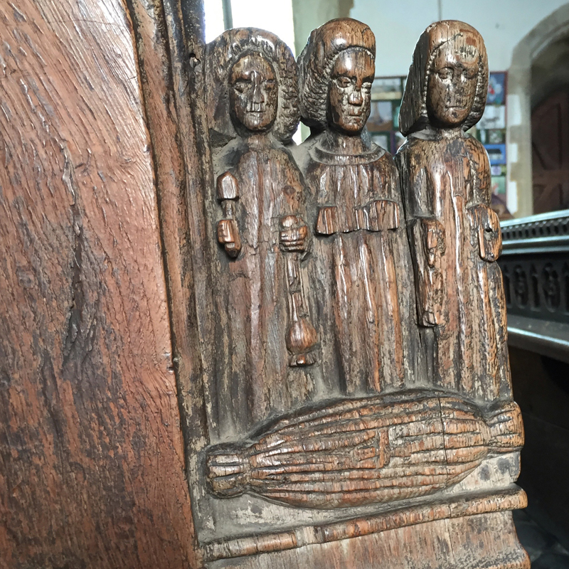 medieval bench end carvings Feltwell Church